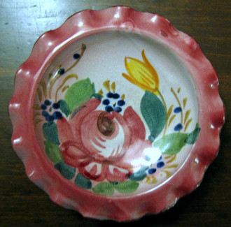 Sweet Small 4 inch Italy Handpainted Rose Fluted Edge Dish