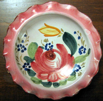 Sweet Small 5 Inch Italy Handpainted Rose Fluted Edge Dish