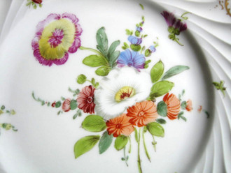 Shabby Euro Porcelain White Orange Purple Gold Edge Swirl Hand Painted Plate