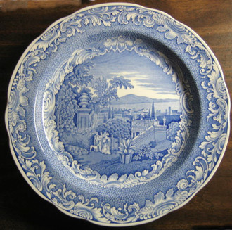 Blue White Transferware Exotic Garden View Tourists Dog Scroll Plate