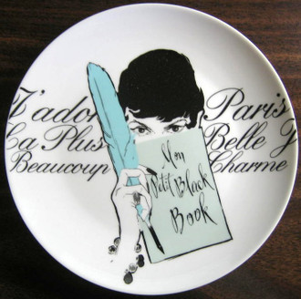 Vintage Rosanna Feather Girl Black White French Script Plate