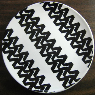 Black on White Zigzag Designer Decorator Plate