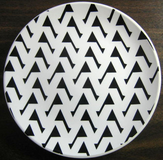 Black on White Bold Geometric Designer Decorator Plate