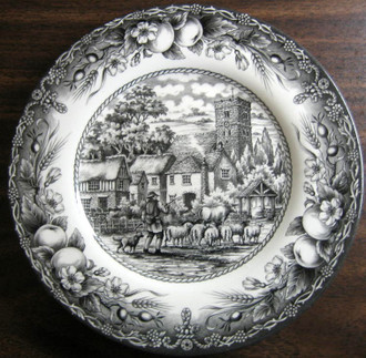 Black Toile Transferware Sheep Dog Clock Tower Fruit Plate