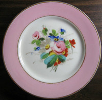 Antique Shabby Chic Hand Painted Rose Gold Edge Plate
