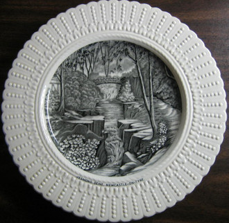 Black Cream Toile River Bridge Ivy Raised Edge Old Plate