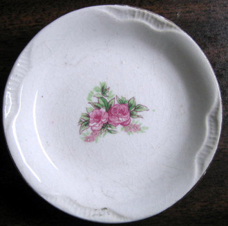 Tiny Double Rose Butter Pat Miniature Dish FREE SHIP