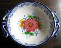 Blue White Handled Folk Art Small Hand Painted Portugal Bowl