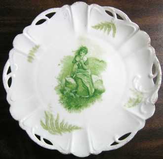 Antique Green Girl on Rock Fern Textured Pierced Porcelain Plate