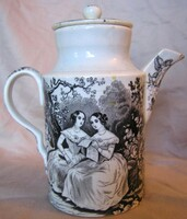 Antique Black Transferware Artistic Women