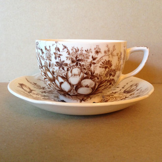 Brown Toile Transferware Tulip Vintage Cup and Saucer www.DecorativeDishes.net