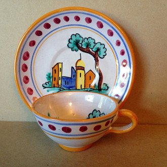 Hand Painted in Italy Warm Italian Village Cup & Saucer Dots www.DecorativeDishes.net