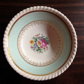 Aqua Gold Filagree Roses Rope Edge Shabby Cottage Bowl