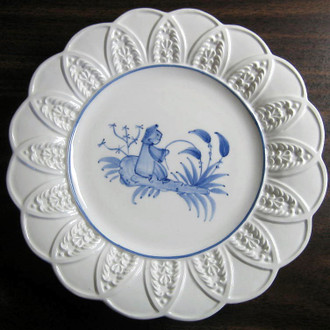 Blue on Bright White Asian Boy Textured Leaf Edge Italy Plate www.DecorativeDishes.net