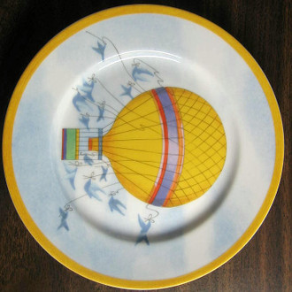Whimsical Yellow Hot Air Balloon Blue Birds Sky Gold Edge Plate Japan www.DecorativeDishes.net