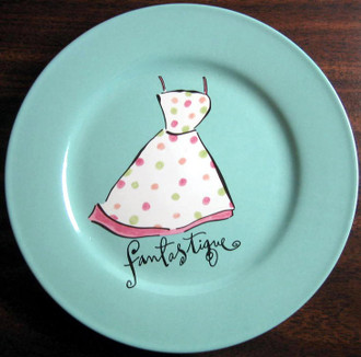 Dotted Sundress Aqua Rosanna Plate www.DecorativeDishes.net