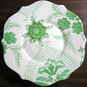 Green on White Bohemian Chic Rosanna Plate www.DecorativeDishes.net