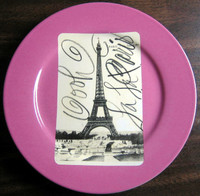 PInk Eiffel Tower Postcard Plate www.DecorativeDishes.net