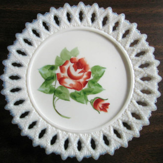 Milk Glass Rose Plate www.DecorativeDishes.net