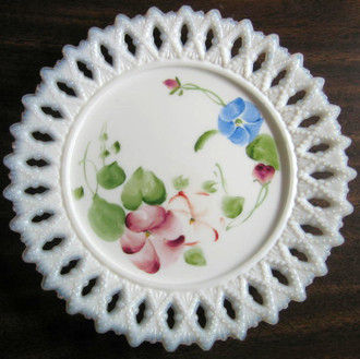 Milk Glass Hand Painted Plate www.DecorativeDishes.net