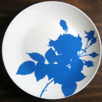 Blue Rose Silhouette Plate A www.DecorativeDishes.net