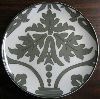 Grey Damask Wallpaper Scroll Plate www.DecorativeDishes.net