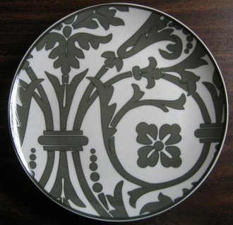 Gray Damask Scroll Graphite Wallpaper Plate www.DecorativeDishes.net