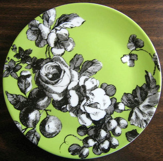 Black and white on green toile plate www.DecorativeDishes.net