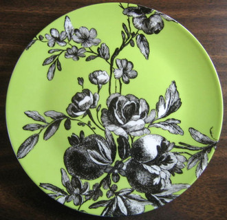 Rosanna retired Fleur green and black plate www.DecorativeDishes.net