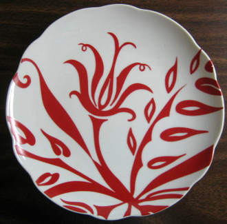 Red on White Lotus Plate www.DecorativeDishes.net