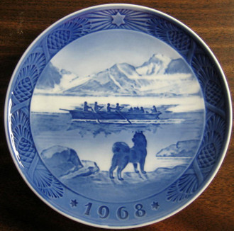 1968 Cobalt Husky Dog Rowing Boat Star Pinecone Plate www.DecorativeDishes.nt