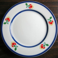 Clean Blue on White Primary Colored Flowers Small Plate JAPAN
