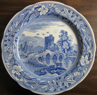 Blue Transferware Tower Bridge Cows Plate www.DecorativeDishes.net