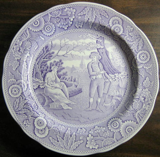 Lavender Purple Toile Transferware Women Baby Calico Plate www.DecorativeDishes.net