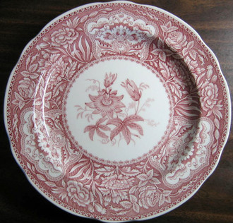 Red Pink Toile Transferware Exotic Floral Plate www.DecorativeDishes.net