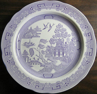 Lavender Purple Chinoiserie Exotic Bird Willow Plate www.DecorativeDishes.net