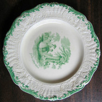 Antique Green Toile Small Plate www.DecorativeDishes.net