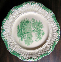 Antique Green Toile Transferware Plate www.DecorativeDishes.net