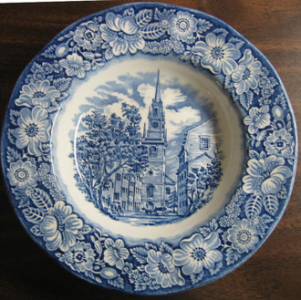 Cobalt Blue Toile Transferware 3-D Colonial Flat Bowl www.DecorativeDishes.net