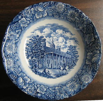 Cobalt Blue Toile Transferware Horseman Small Bowl www.DecorativeDishes.net