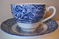 Cobalt Blue Toile Transferware Paul Revere Cup and Saucer www.DecorativeDishes.net