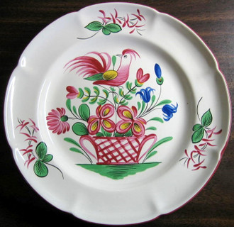 French Folk Art Pink Bird Basket Scalloped Edge Plate www.DecorativeDishes.net