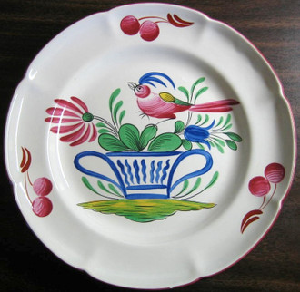French Folk Art Pink Bird Blue Basket Cherries Edge Plate www.DecorativeDishes.net