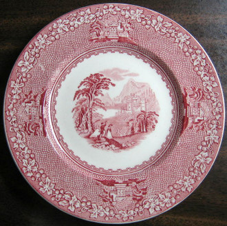 Red Pink Toile Transferware Old Castle Woman Parasol Vine Small Plate www.DecorativeDishes.net