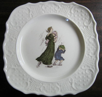Kate Greenaway Mom and Children in Rain www.DecorativeDishes.net
