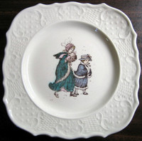 Kate Greenaway Winter Girls Plate www.DecorativeDishes.net
