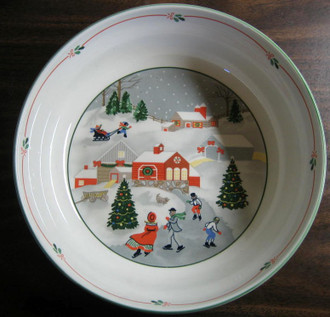 Charming Homespun Christmas Skating Trio Large Serving Bowl www.DecorativeDishes.net