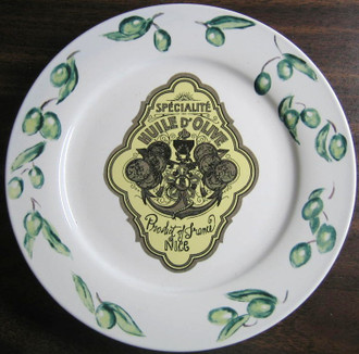 Vintage Olive Oil Label NICE Green Olives Medium Plate www.DecorativeDishes.net
