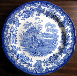 Blue White Transferware Toile Victorian Zoo Kangaroo Plate www.DecorativeDishes.net