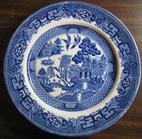 OLD Flow Blue White Chinoiserie Exotic Birds English Willow Plate L www.DecorativeDishes.net
